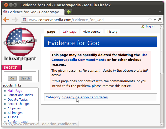 The article 'Evidence for God' on Conservapedia