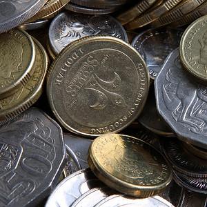 A pile of Australian coins